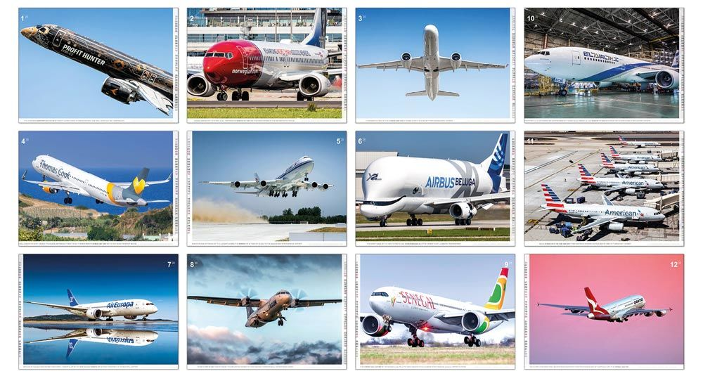 The airplanes in the aircraft calendar 2020 Civil Aviation